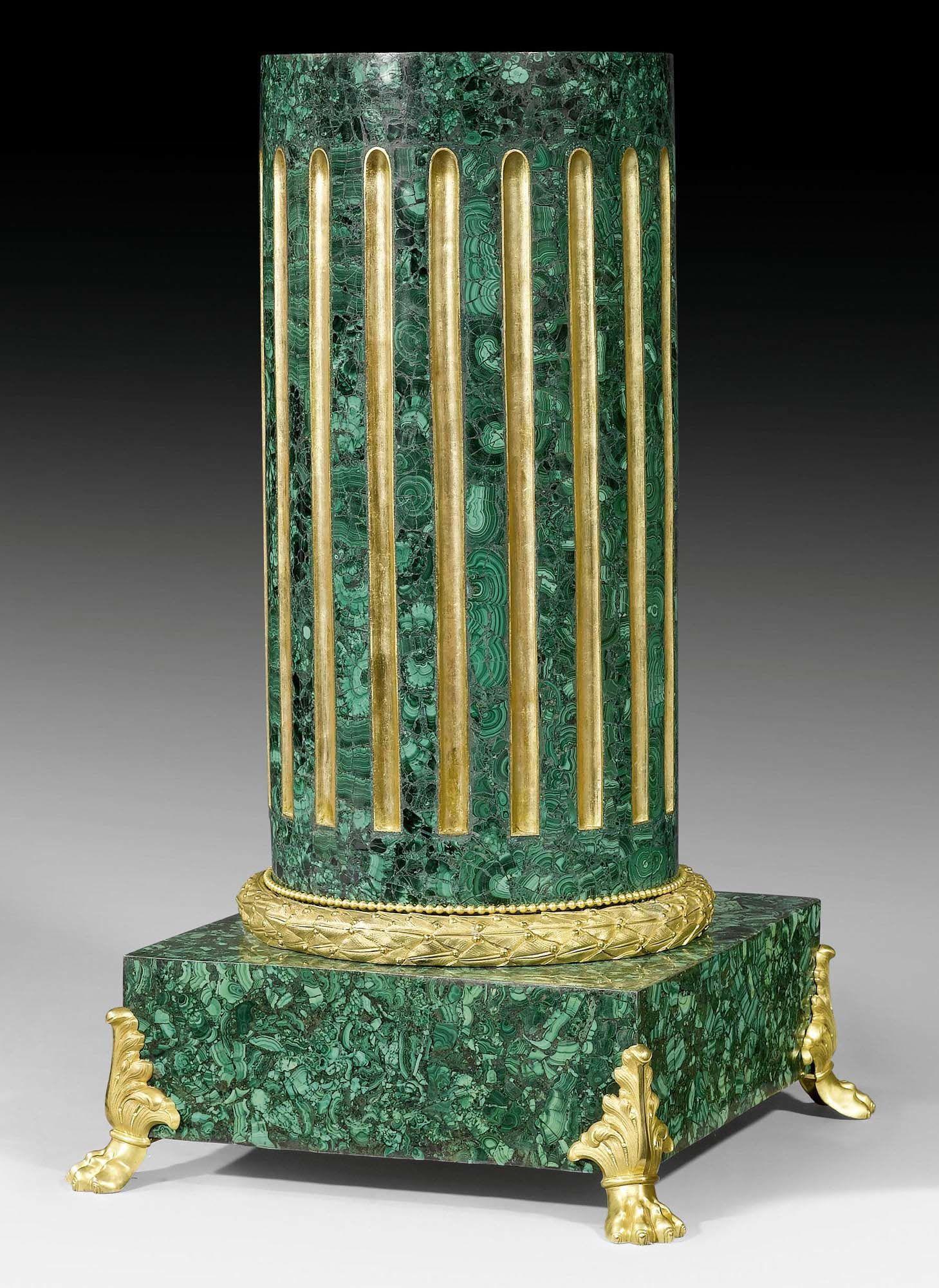 MALACHIT-SÄULENPOSTAMENT, Louis XVI-Stil, Russland, Ende 19.