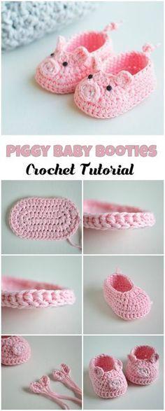 Sind die süß ❤ Schühchen für Babys häkeln l Crochet Piggy Baby ...