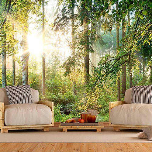 Murando   Fototapete Wald 400x280 Cm   Vlies Tapete   Moderne Wanddeko    Design Tapete   Wandtapete   Wand Dekoration   Wald Landschaft Natur Sonne  Grün ...