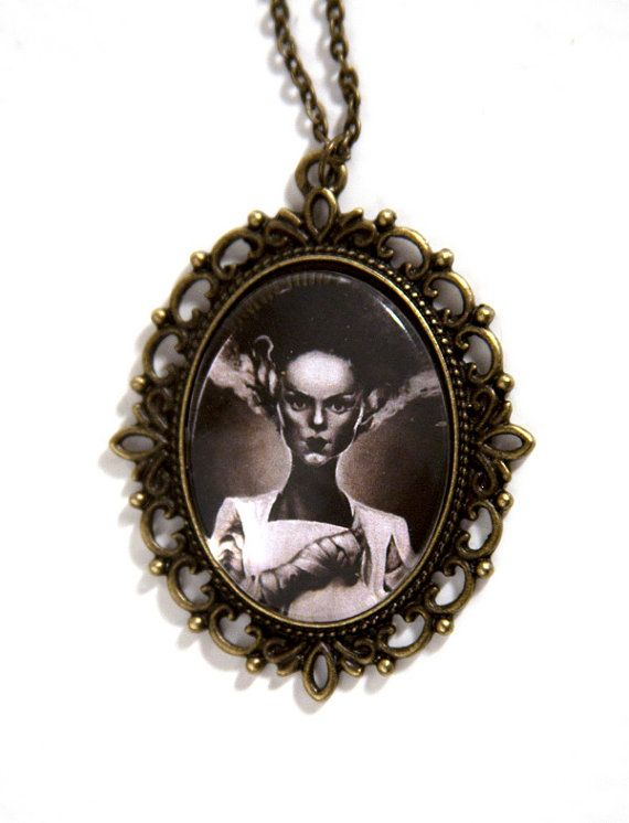 Bride of Frankenstein Necklace by Goraline on Etsy, $10.00 LOVE this shop I got my Zombie Snow White necklace