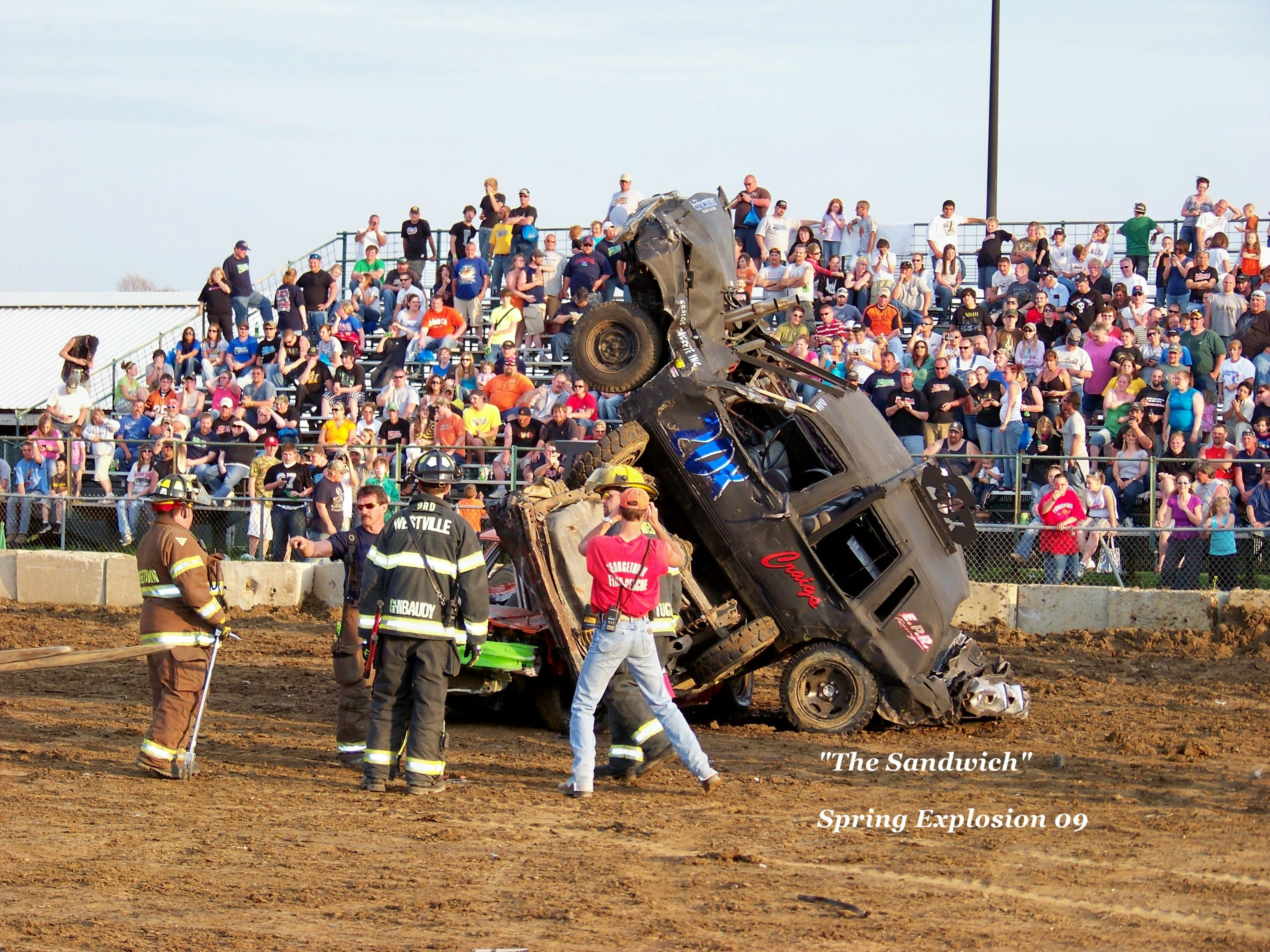 Three Car Pile Up Roll Over Amazingly No One Was Hurt Spring Explosion Demo Derby Illinois