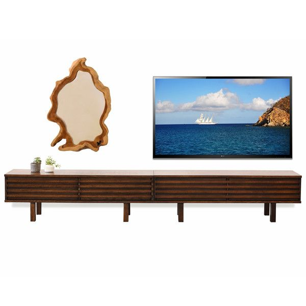Low Tv Stand Modern Profile Lotus Russet Brown Media Cabinets