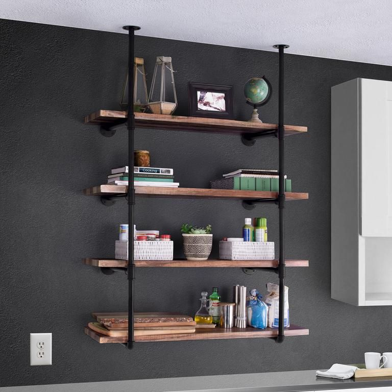 Photo of 4-Tier Industrial Wall-Mounted Iron Pipe Bracket DIY Bookshelf Frame
