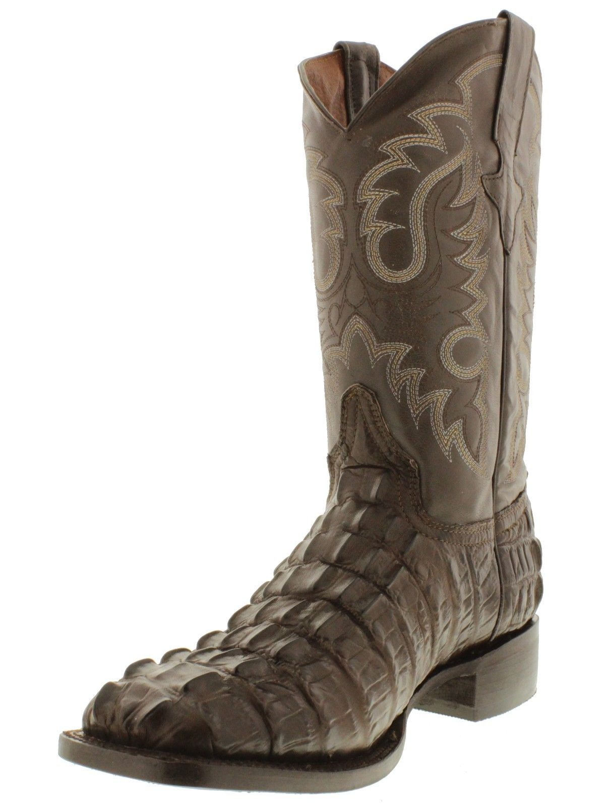 5be1c23f075 Men's brown square toe cowboy boots crocodile alligator tail western ...