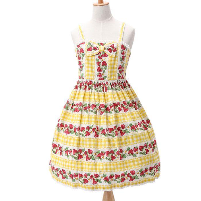 1d4a7c258ed32 ギンガムいちご柄ジャンパースカート|ロリィタファッションshirly Temple