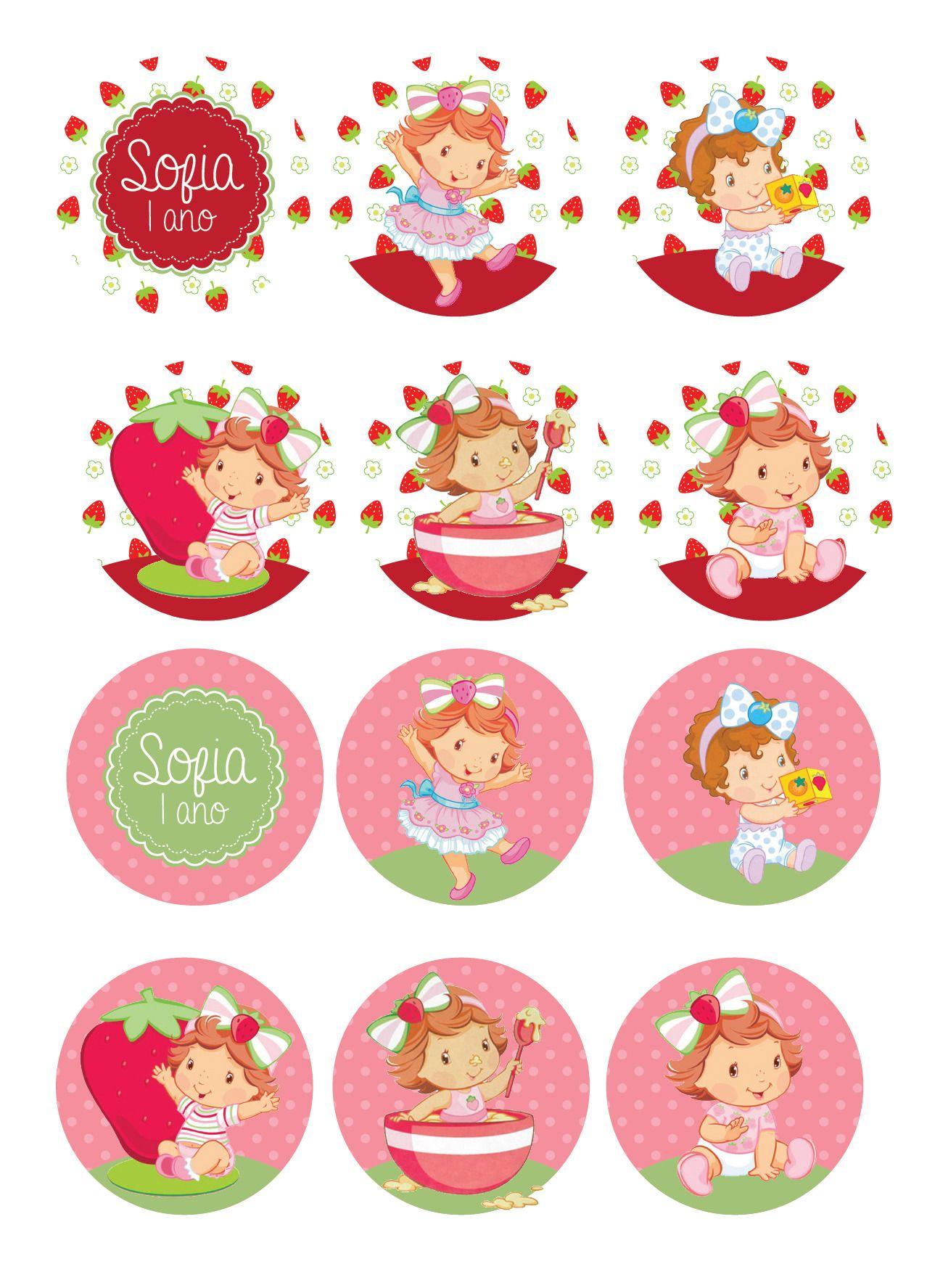 Topper Para Docinhos Cupcake Moranguinho  cakepins.com
