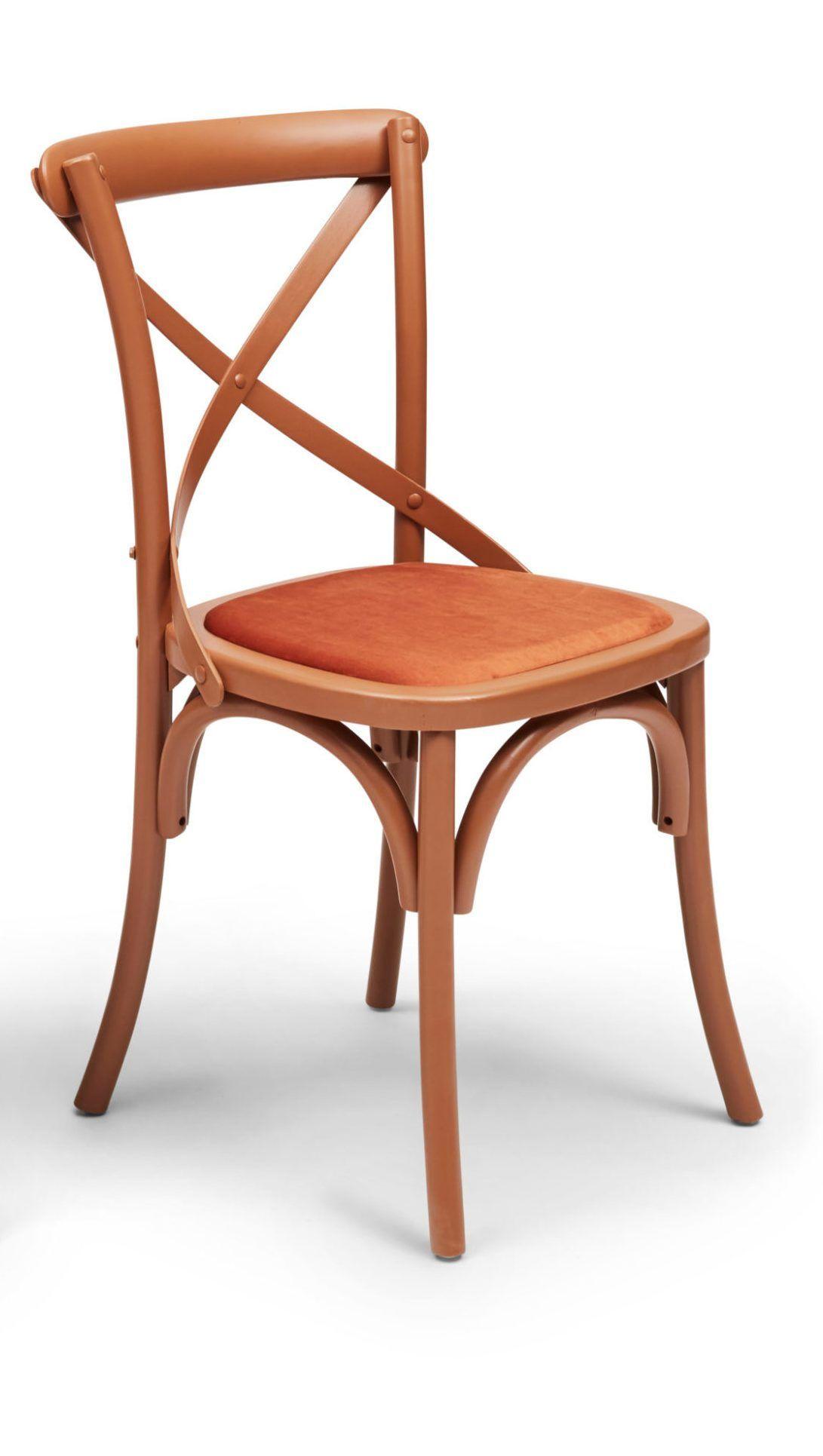 Agafia dining chair orange rust frame persimmon velvet