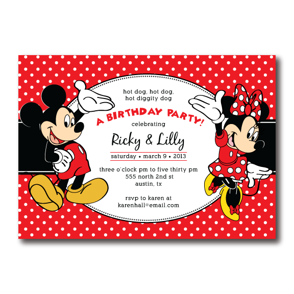 Sample Invitation Double Celebration. Mickey and Minnie Mouse Birthday Invitation for twins or a double sibling  celebration
