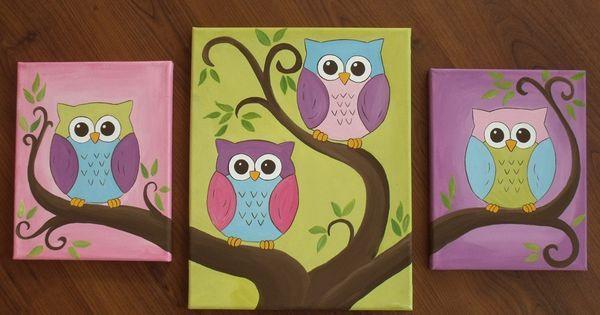 how to draw and paint an owl for kids | Cute owl canvas paint idea ...