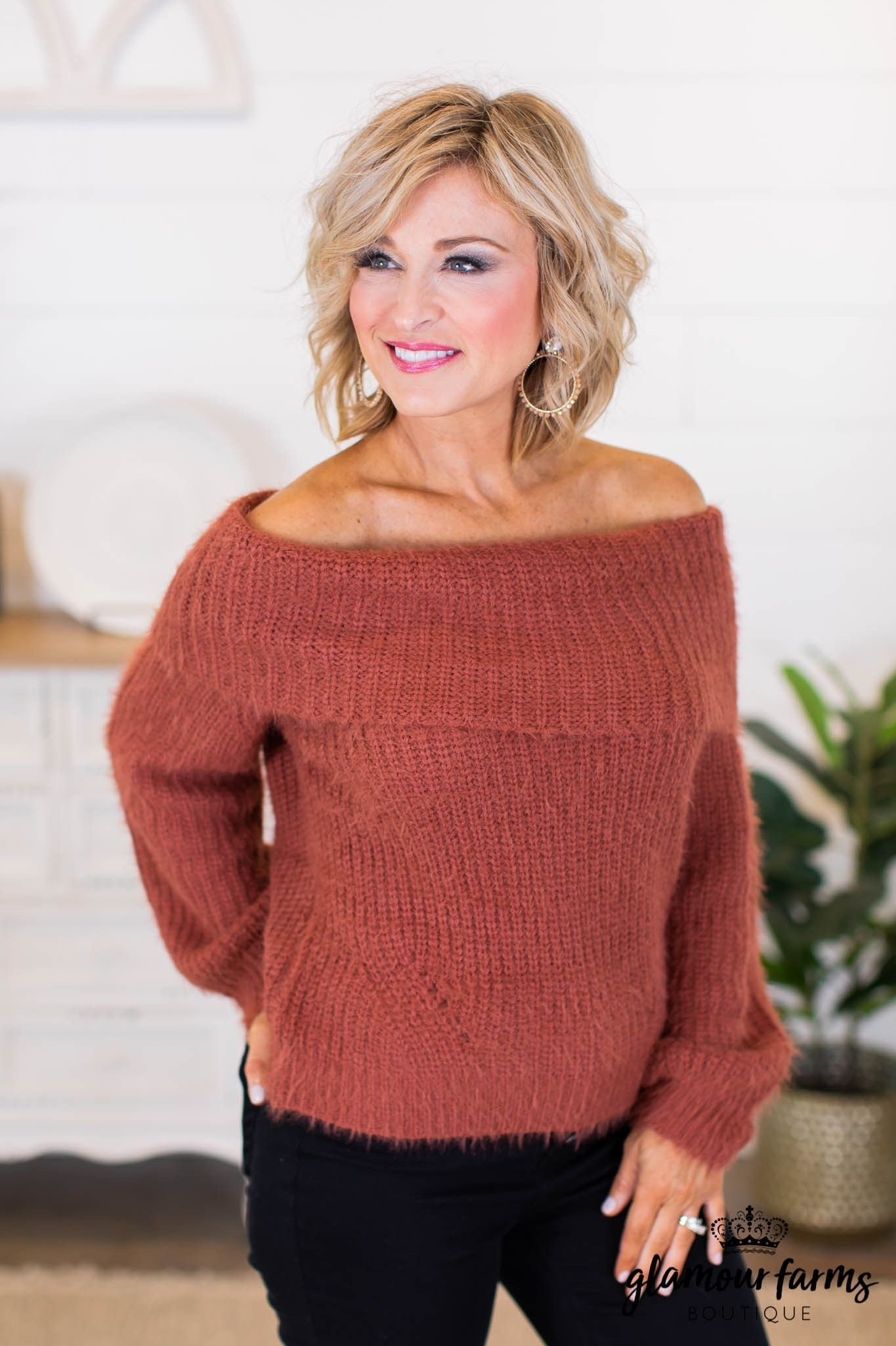 sku10048 | Off Shoulder Sweater - Brick sku10048 | Off Shoulder Sweater - Brick