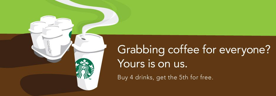 """If you're the one stuck going to Starbucks to get coffee for the office, Starbucks wants to treat you with the """"Runner Reward"""": Buy 4 drinks, and get the 5th free. Just download a special form where you can write down the orders, bring it to your local shop, and get rewarded. Offer good through Monday, Nov. 12."""