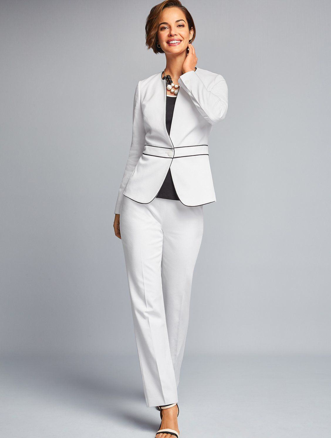 Black Contrast Piping At The Trim And Waist Makes This Pure White Collarless Blazer Feel Special You Ll Office Outfits Pantsuits For Women Womens Dress Suits [ 1493 x 1128 Pixel ]