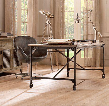 Flatiron Desk Wood And Metal Desk Rustic Desk Restoration Hardware