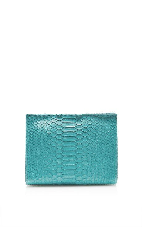 Turquoise Matte Python Cosmetic Clutch by Hunting Season for Preorder on Moda Operandi