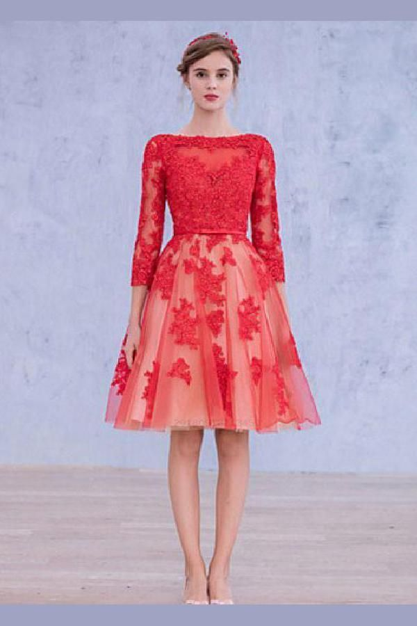 Great Lace Homecoming Dresses, Red Homecoming Dresses, Lace Red Homecoming Dresses, Homecoming Dresses With Sleeves #lacehomecomingdresses