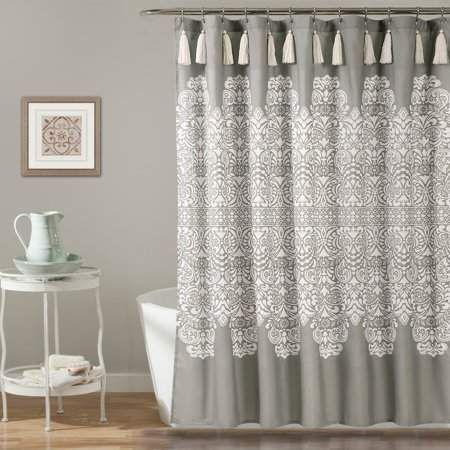 Essential Living Boho Medallion Shower Curtain Navy 72 X 72 In