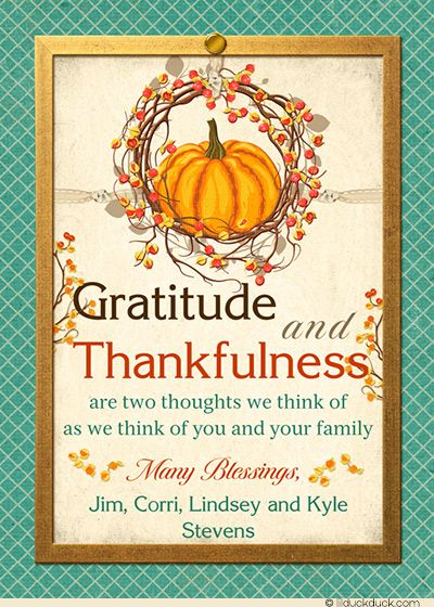 Thankful Time Pumpkin Thanksgiving Cards - Blessed  Grateful 2018