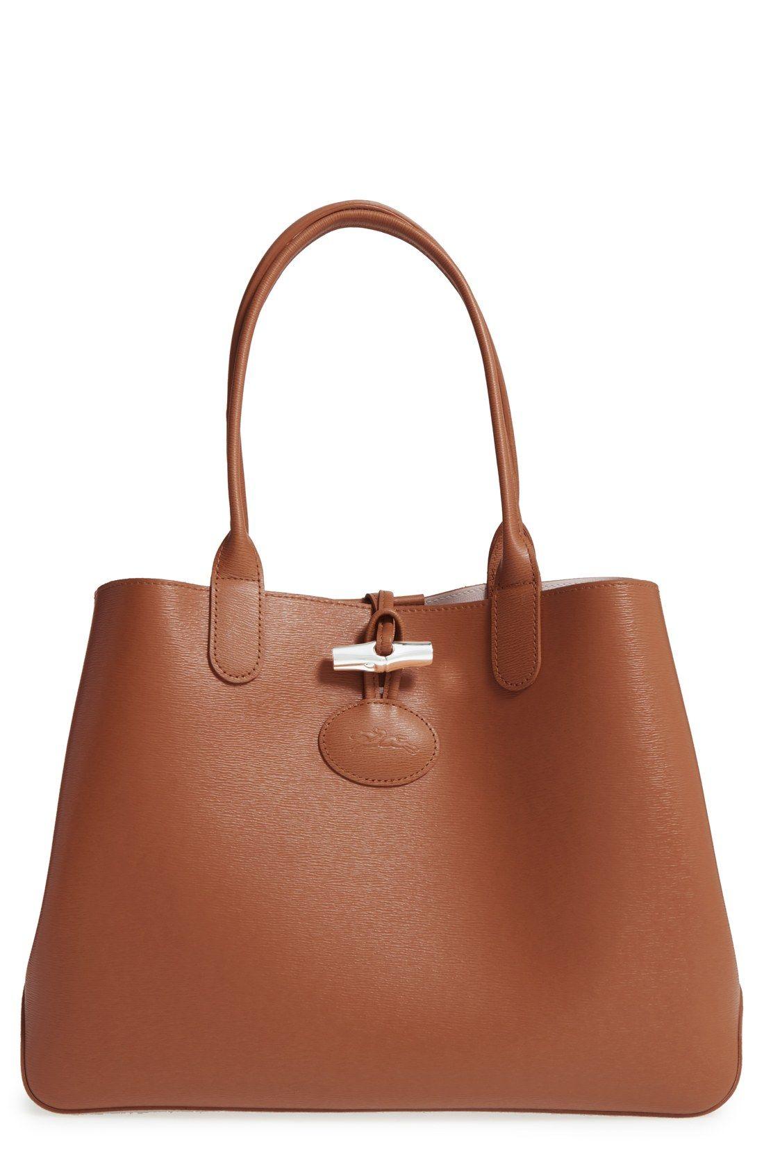 Longchamp  Roseau  Reversible Leather Tote  23c34e37292cb