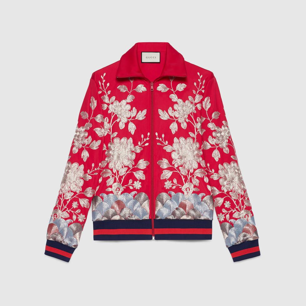 Gucci Jersey Jacket With Gold Embroidery Harajuku Hoodie Tracksuit Jersey Jacket
