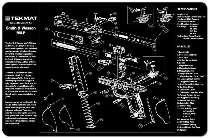 TEKMAT - Smith & Wesson M&P Handgun. Educational cleaning mat ...
