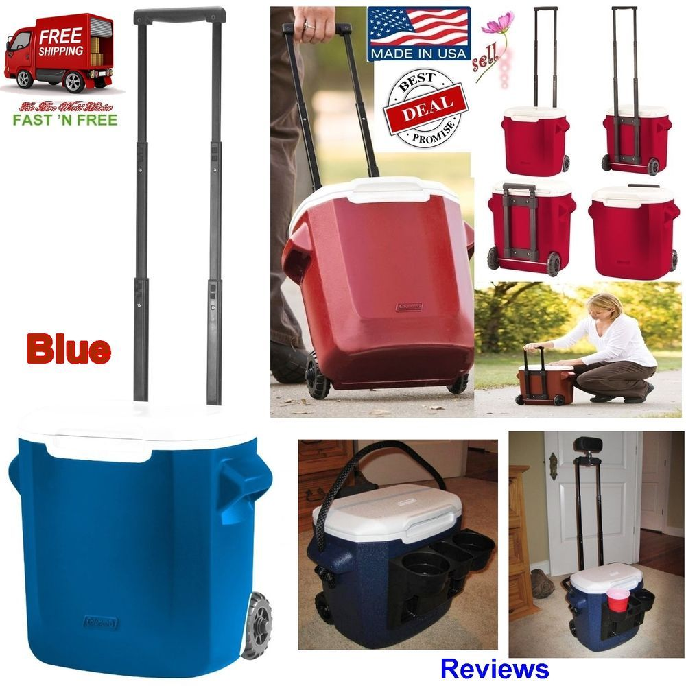 Coleman Cooler Ice Personal Wheeled Rolling 16 Q Chest Camping Picnics Bbq Blue Drinking Beer Wine And Beer Drink Gift