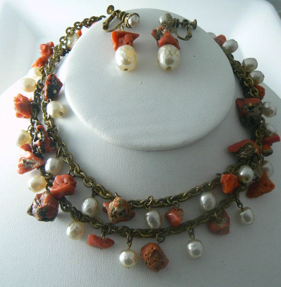 Miriam Haskell Natural Coral Chunk Baroque Pearl Necklace and Earring Set  Unique vintage, antique, costume and estate jewelry.