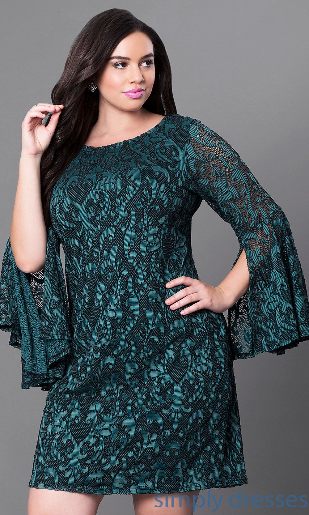 Juti short green lace plussize party dress with sleeves