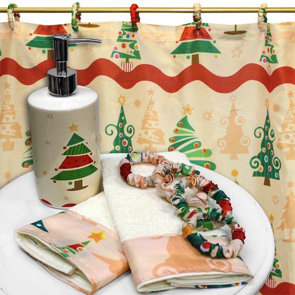 O Christmas Tree 16 Piece Shower Curtain And Accessory Set
