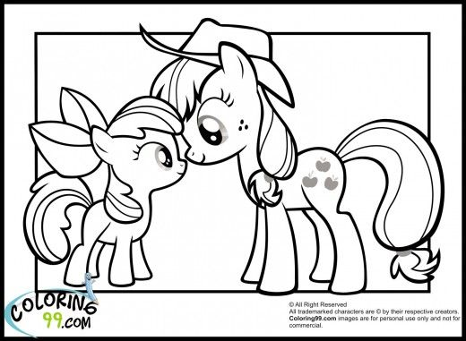 My Little Pony Apple Bloom And Applejack Coloring Pages Movies