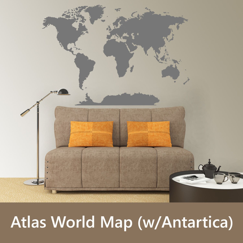 World atlas map w antarctica wall vinyl decal metallic gold silver world atlas map w antarctica wall vinyl decal metallic gold silver copper removable vinyl mural sticker gumiabroncs Choice Image