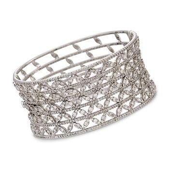11.05 ct. t.w. Diamond Bangle Bracelet in 18kt White Gold