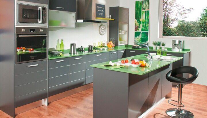 Original combinación gris y verde, www.lovikcocinamoderna ...