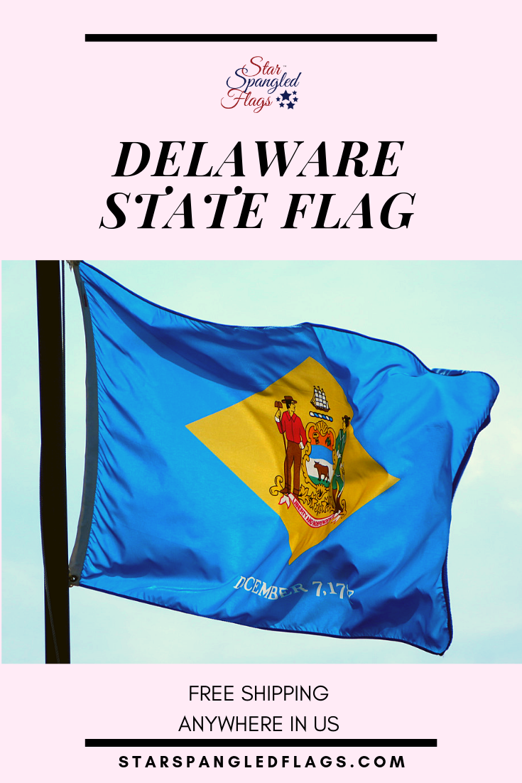 The State Flag Of Delaware Was Adopted On May 24 1913 The Central Design On The Flag Is The Delaware Coat Of A Delaware State Flag State Flags Delaware State
