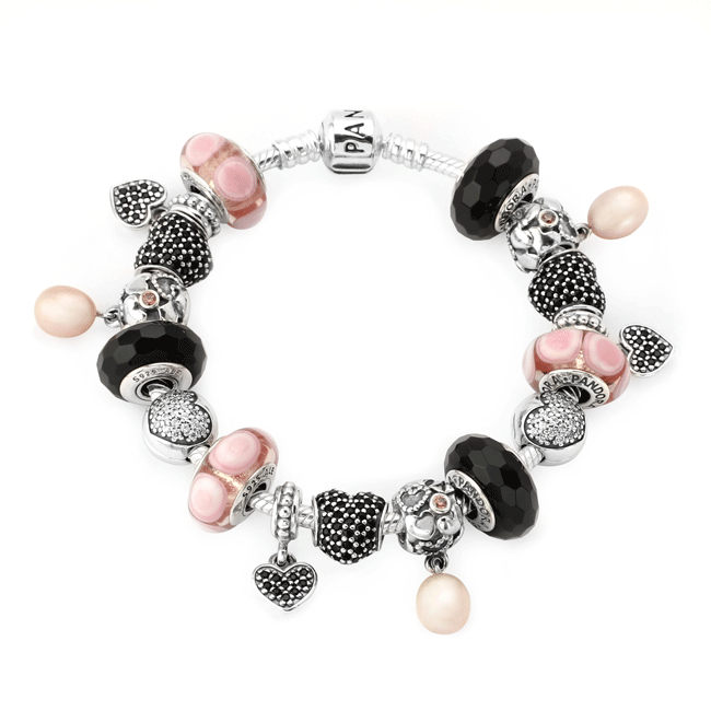 Pandora Bracelet ... LOVE! The pink and black are totally GORGEOUS ... 0c2a0db209f