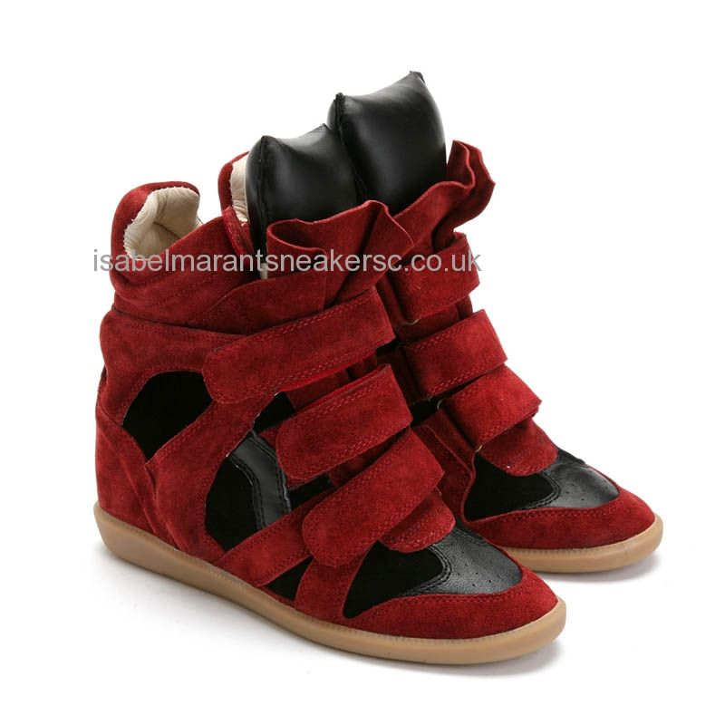 Best UK Isabel Marant Scarlet Black High-top Suede Sneakers