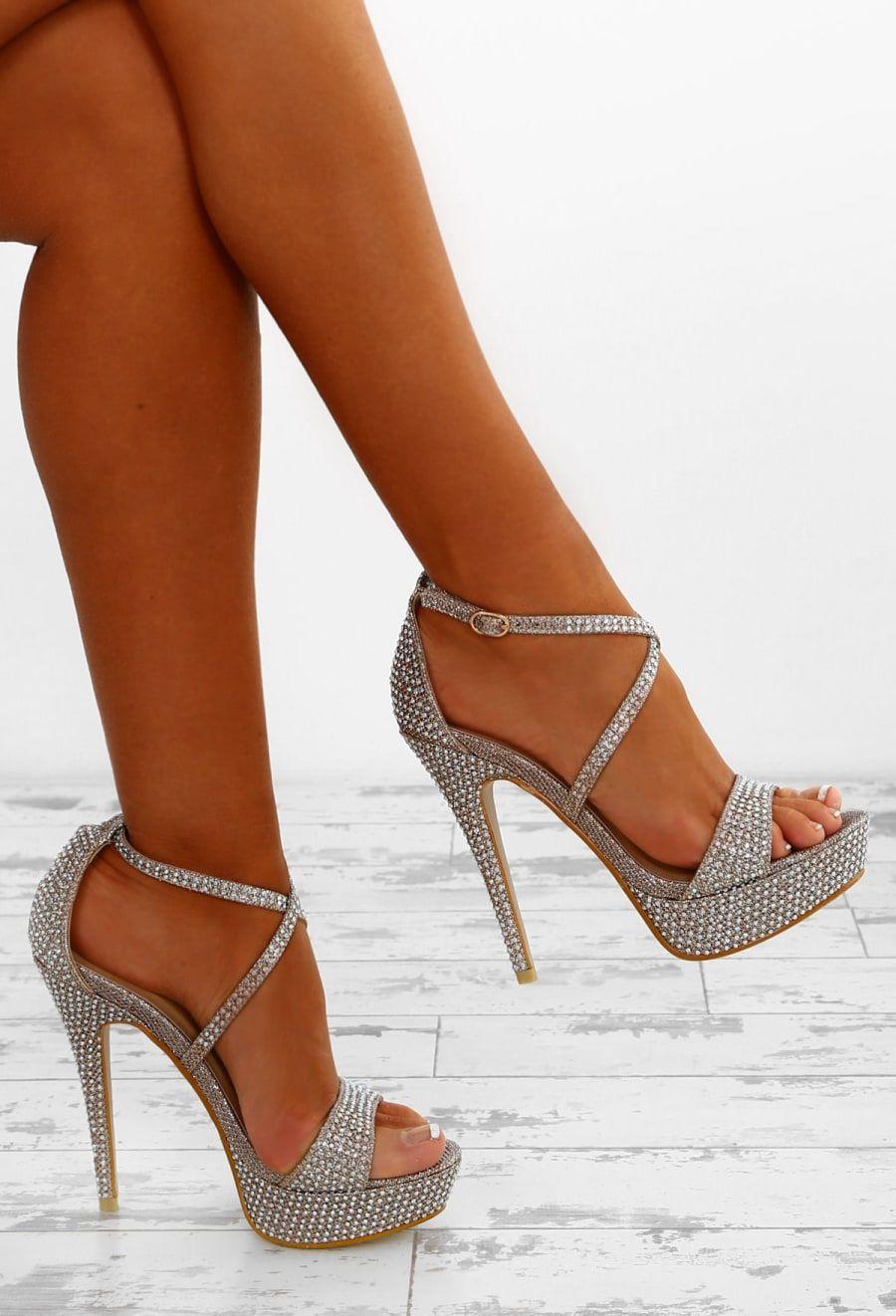 d3560b8dfed Glam Ego Champagne Diamante Embellished Platform Heels - UK 3 in ...