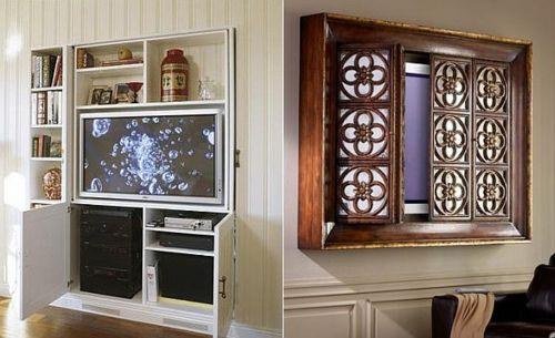 Fernseher Verstecken fernsehgerät eingebaut versteckt interieur idee wohnung tv idee