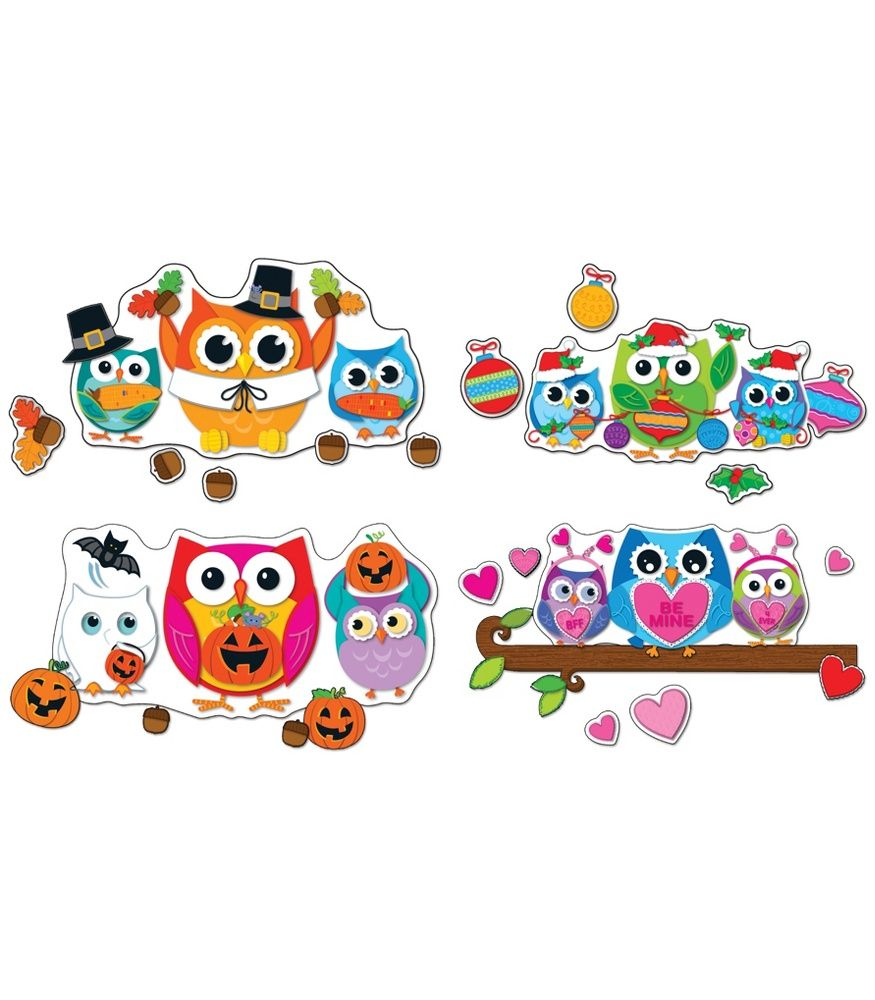 Colorful Owl Classroom Decorations : Celebrate with colorful owls bulletin board set