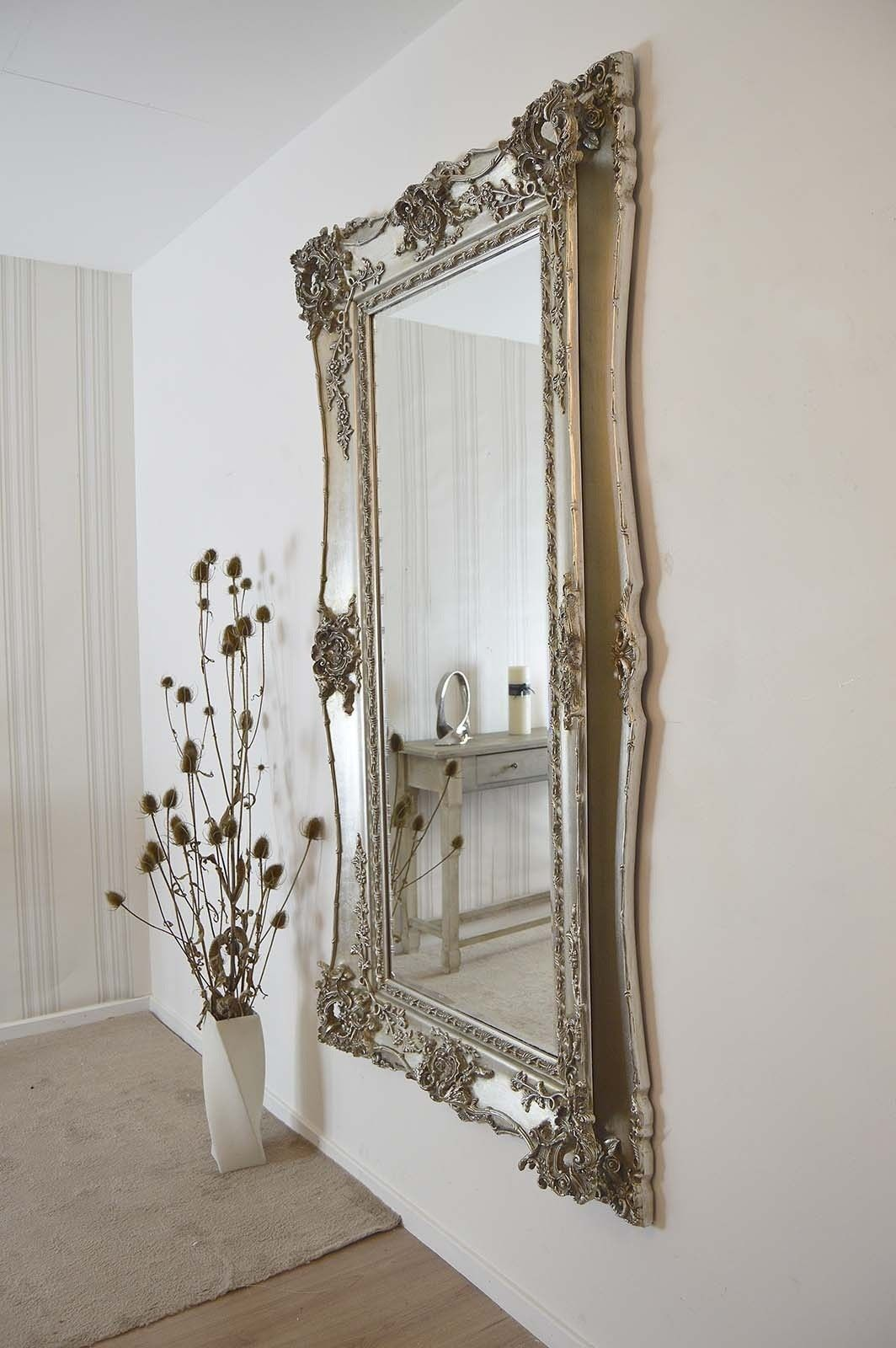 Extra Large Very Ornate Full Length Antique Silver Big Wall Mirror 6ft5 X 3ft5 Big Wall Mirrors Mirror Wall Entryway Wall Decor