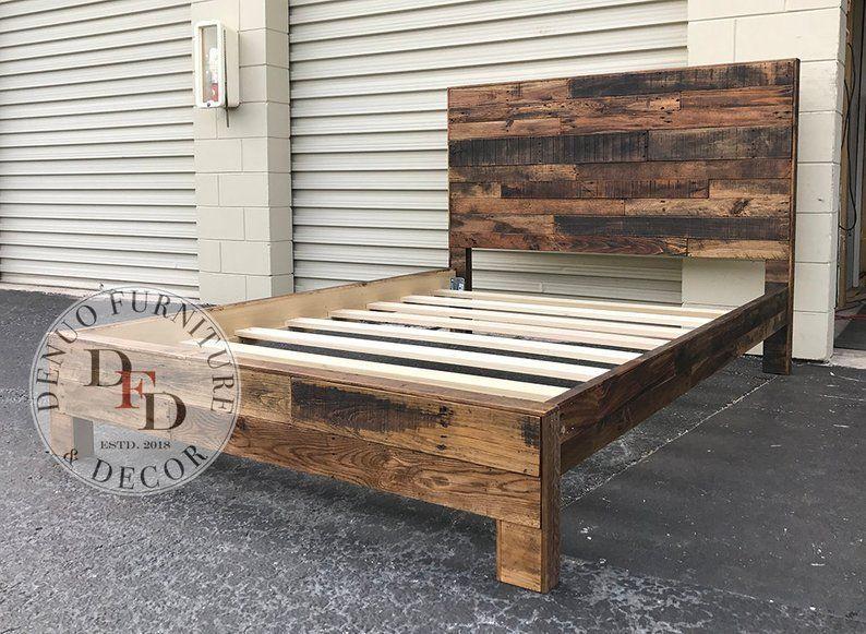 King Bed Frame Pallet Bed Reclaimed Wood Bed Frame Sale