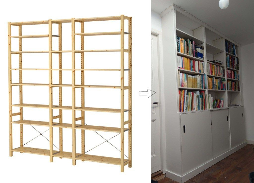 Full Height Built In Bookcase From Ivar Units Built In Bookcase