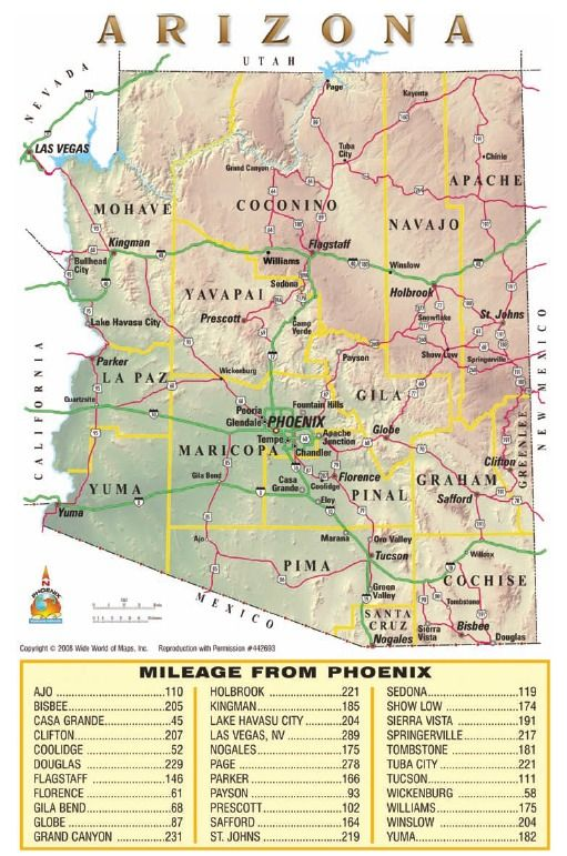 Arizona Points Of Interest Map.State Size Drive Times Arizona Key Magazine Arizona S