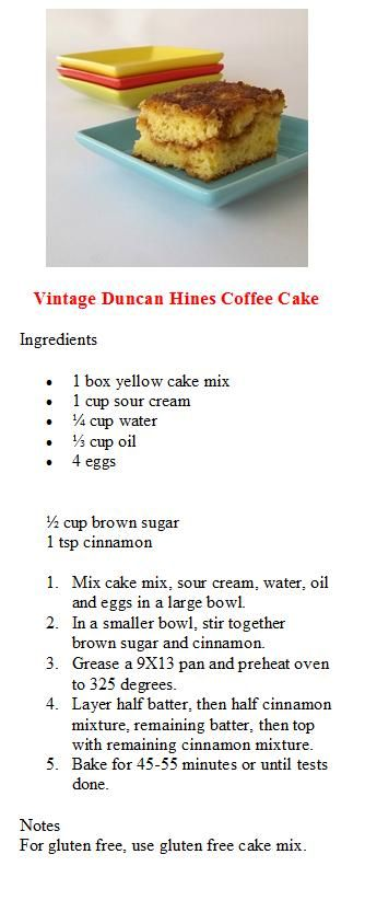 Another Duncan Hines Coffee Cake Recipe Coffee Cake Duncan Hines Coffee Cake Recipe Coffee Cake Recipes