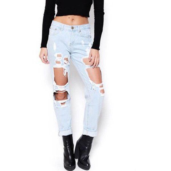 bfe6d5d14 Light Blue High Waist Distressed Pocket Detail Straight Jeans (640 ...