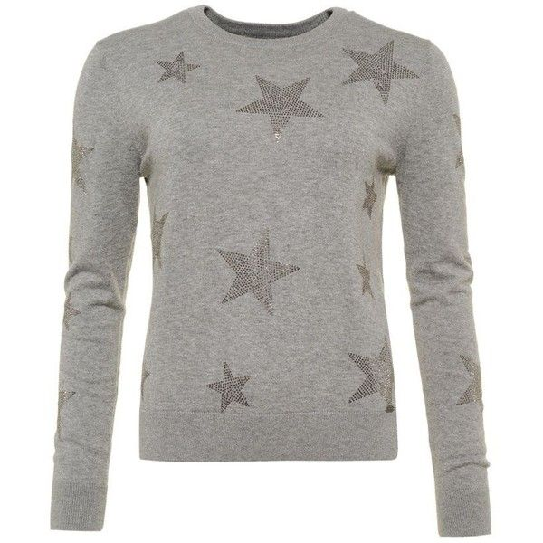 Superdry Star Gem Store Knit Jumper ($57) ❤ liked on Polyvore featuring tops, sweaters, grey, women, knit sweater, gray crewneck sweater, knit top, gray knit sweater and crew neck sweaters