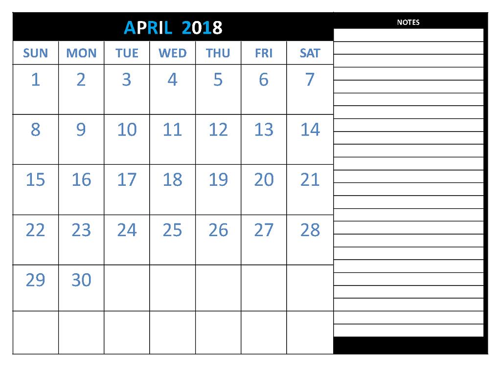 April 2018 Calendar Template Printable With Notes Calendar 2018