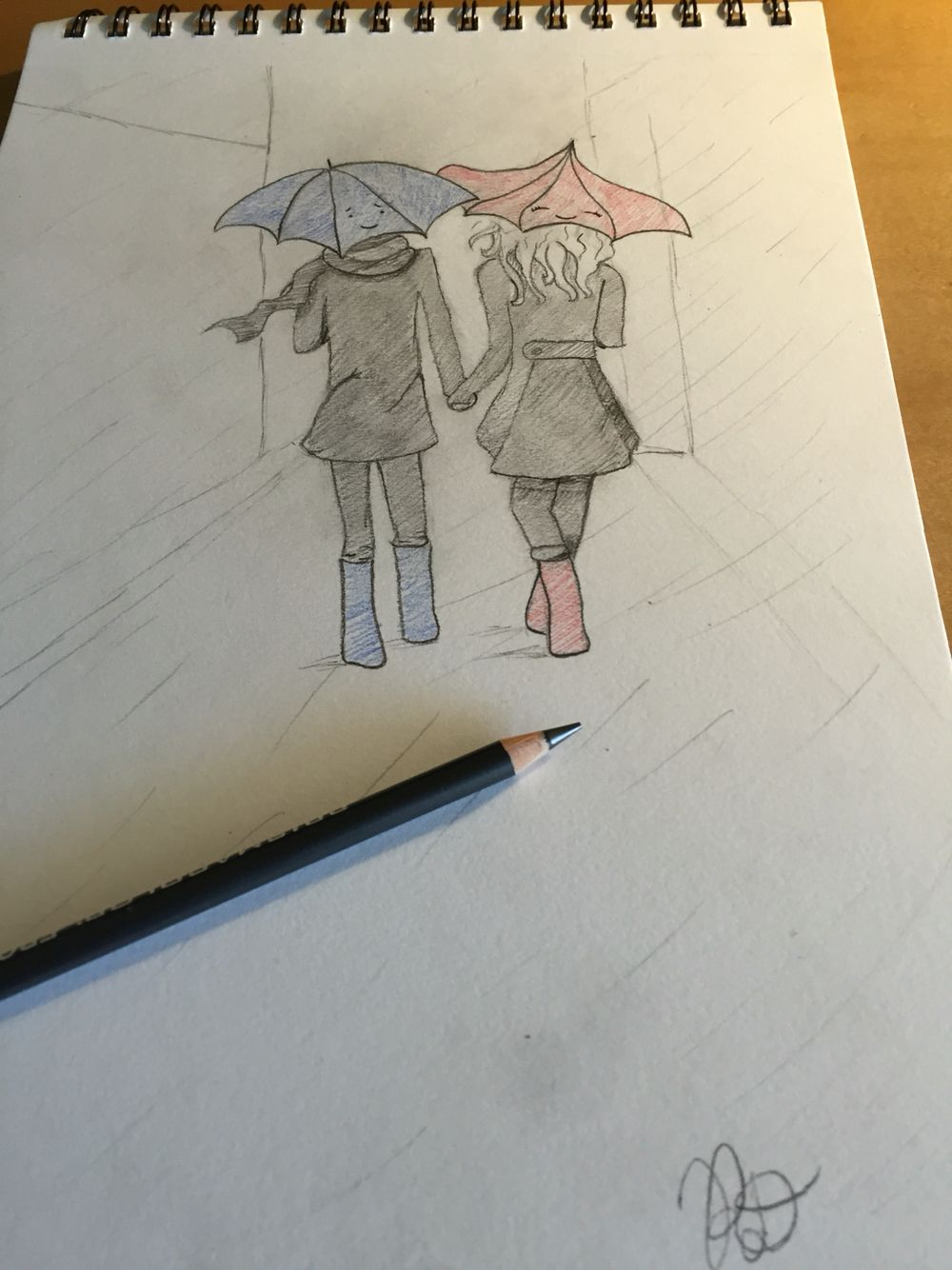 Couple on rainy day pencilcolour pencil art inspo drawings