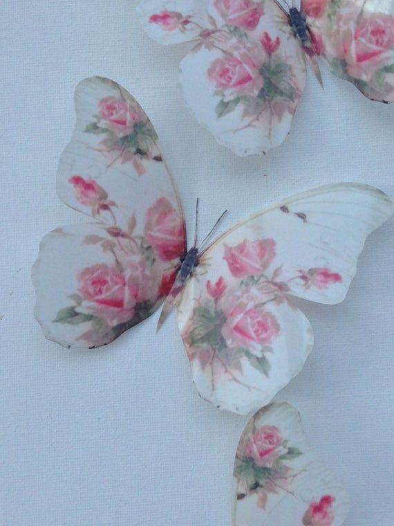 Photo of 4 Stunning Shabby Chic Pink Rose 3D Butterflies Butterfly Decals Accessories 5″ each