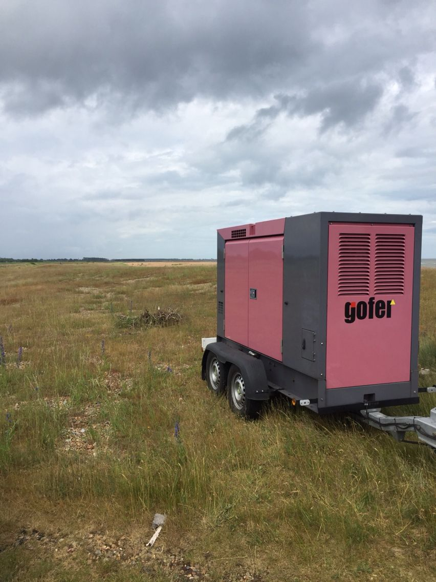 Pinkie the Gofer generator out on location for a film shoot