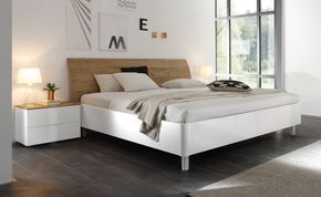 Doppelbett Bett 180 X 200 Cm Weiss Hochglanz Lack Eiche Natur